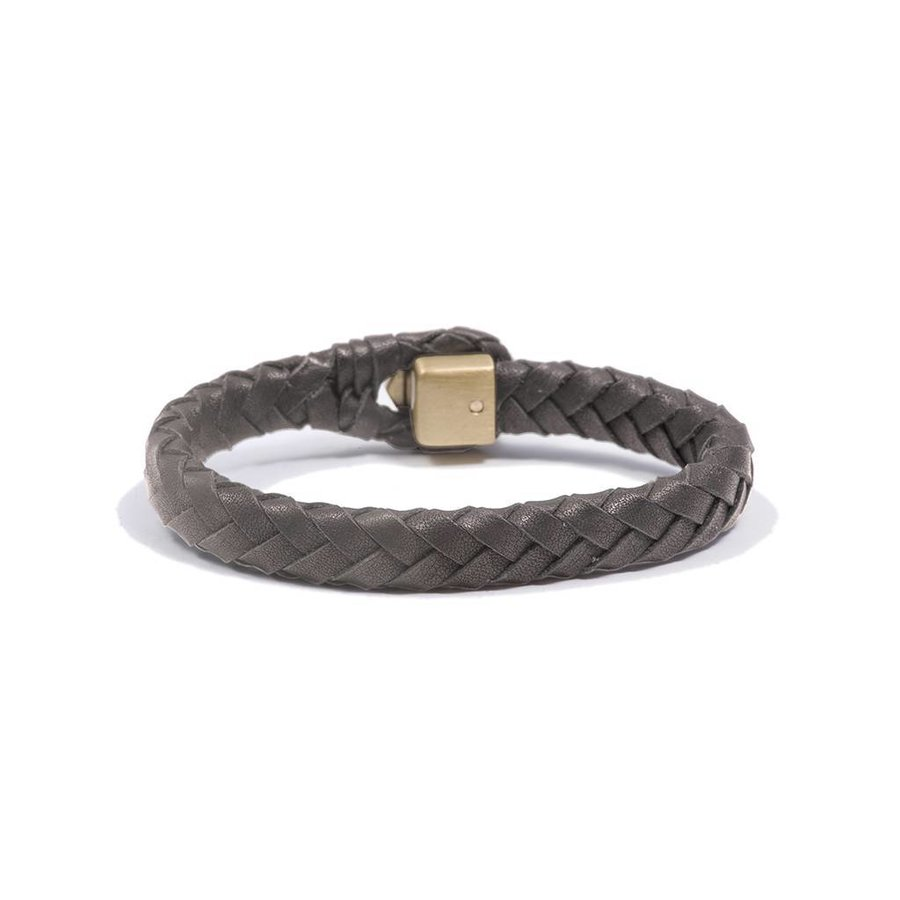 THE LOCK & LEATHER BRACELET - TAUPE - BRASS