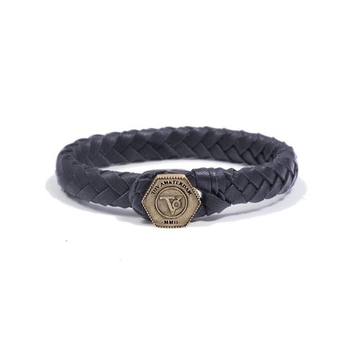THE LOCK & LEATHER BRACELET - DARK BLUE - BRASS