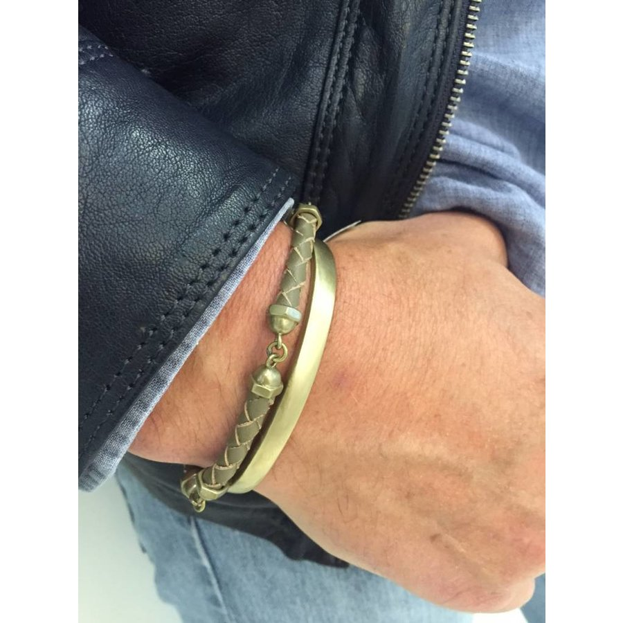 THE SCREW YOU BRACELET - TAUPE - BRASS