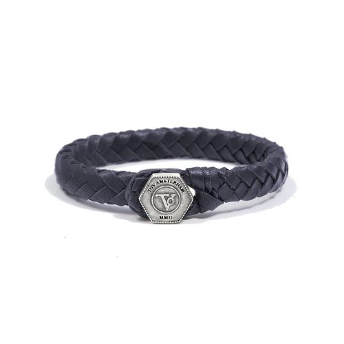 THE LOCK & LEATHER BRACELET - DARK BLUE - SILVER