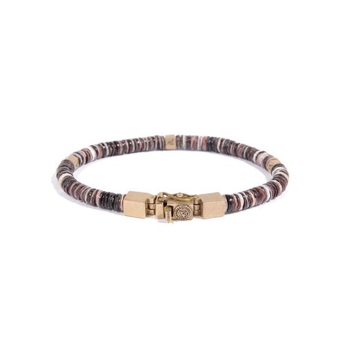 SHELL BRACELET - BROWN TONES- BRASS