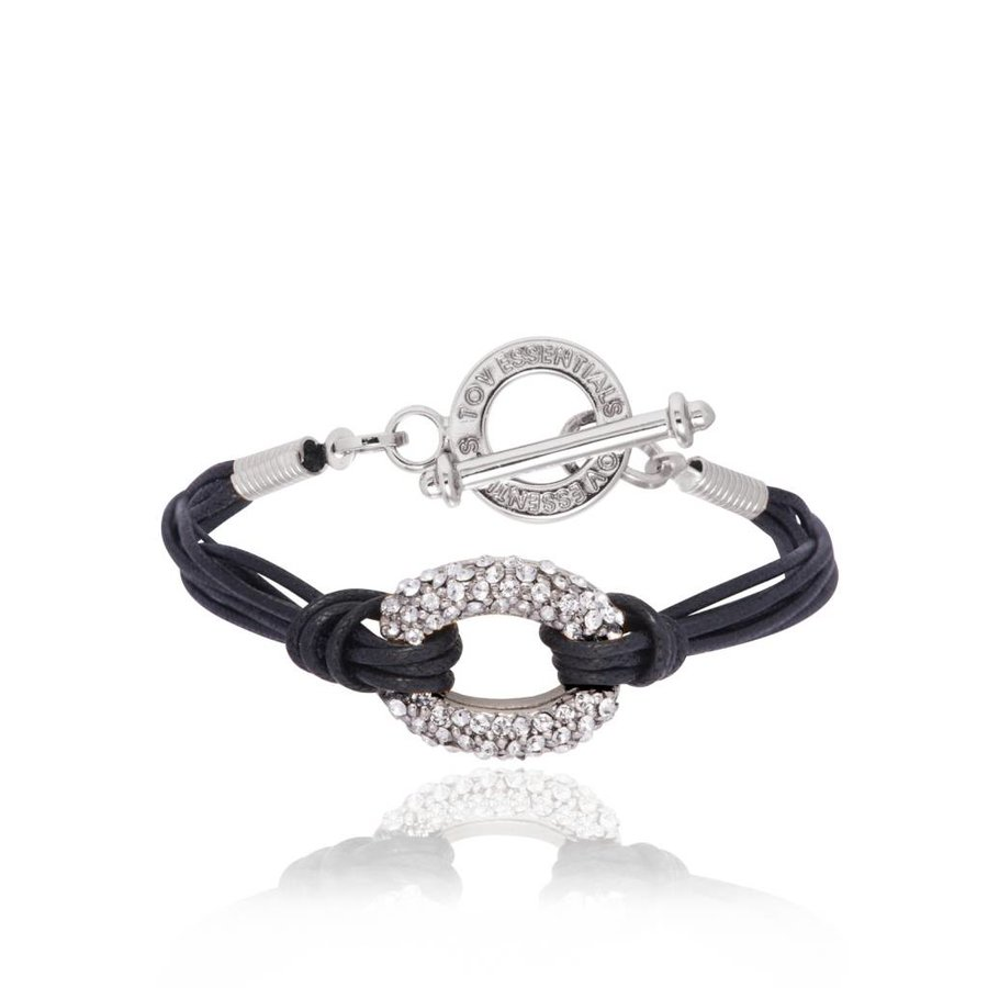Diamond cords bracelet - White Gold/Black
