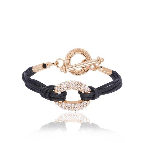 Diamond cords armband - Rose/ Zwart