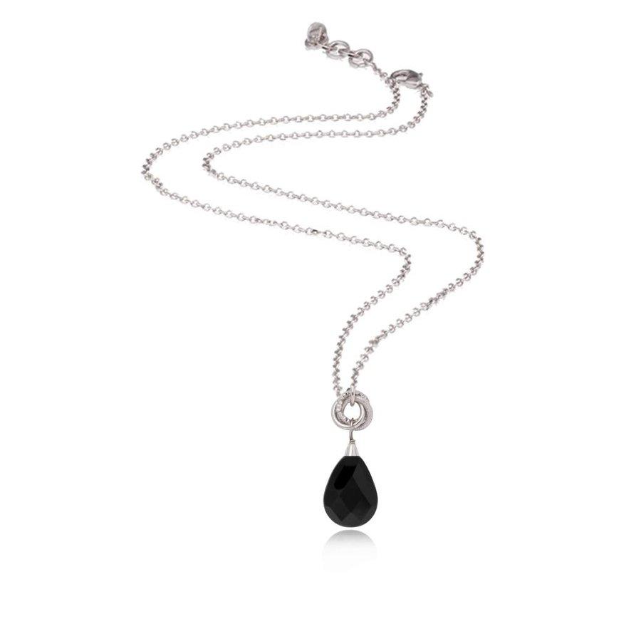 Pure stone necklace - White Gold/Black