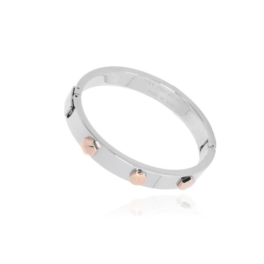 TOV rivets bangle - White Gold/Rose