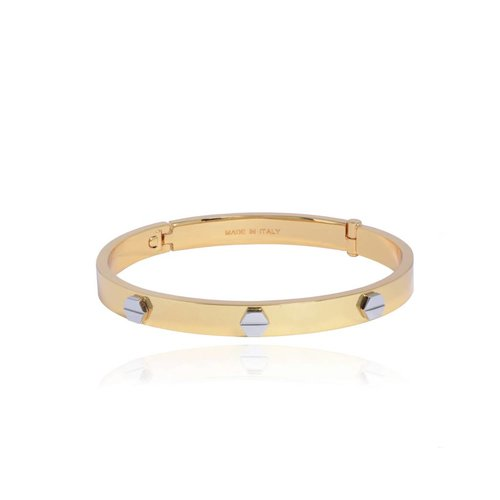 Fine rivets bangle - Gold/White Gold