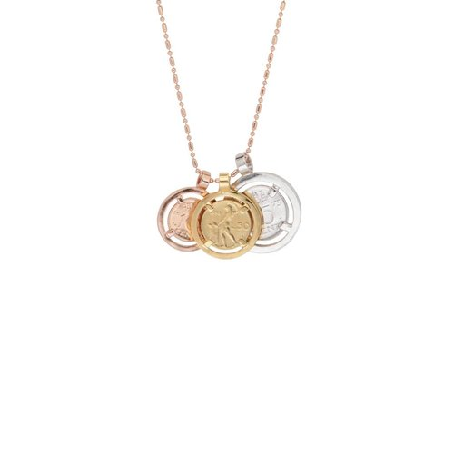 Triple coins tri colori necklace