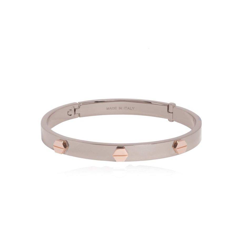 Fine rivets bangle - White Gold/Rose