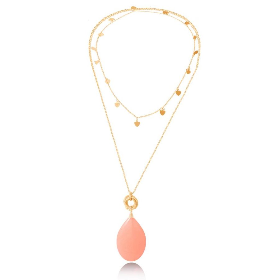 Pure stone lovers necklace - Gold / Coral