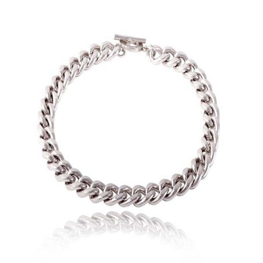 Small flat chain collier - White Gold
