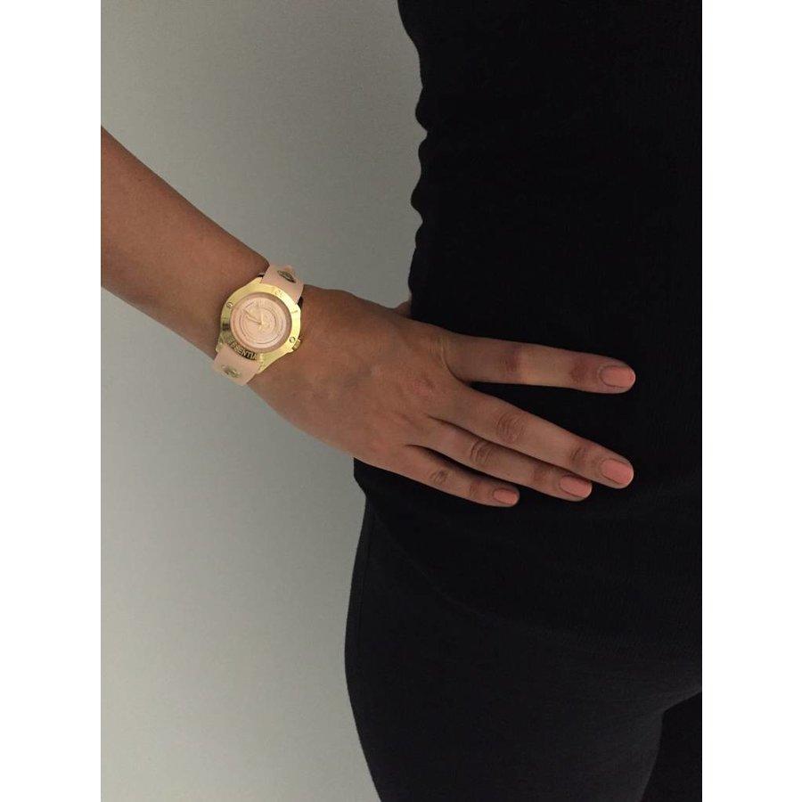Tropical beach gold watch