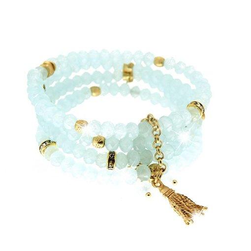Bracelet Delia, light-blue/gold