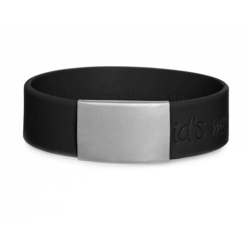 Id's me SportID Maxi Zwart SOS armband