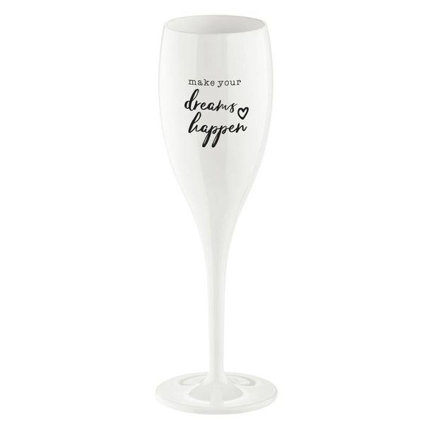 Champagneglas met opdruk: Make your dreams Happen | 100 ml