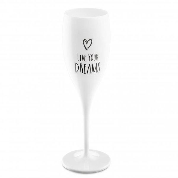 Champagneglas met opdruk: Live your Dreams | 100 ml