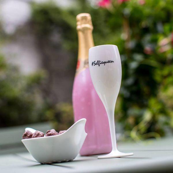 Champagneglas met quote: #selfiequeen | 100 ml