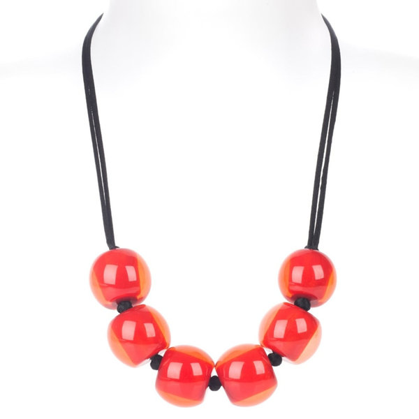 Halsketting rood (9013) Q6| Colourful Beads