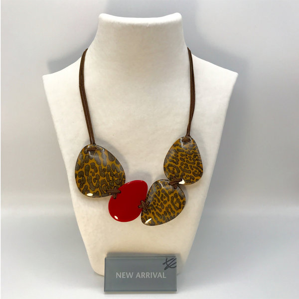 Halsketting Q4 Yellow/Red | Leopard