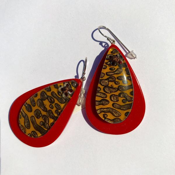 Oorbellen 02 Yellow/Red | Leopard