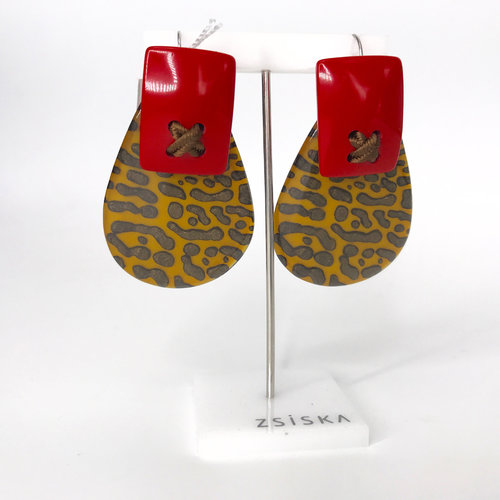 ZSISKA Oorbellen 01 Yellow/Red | Leopard