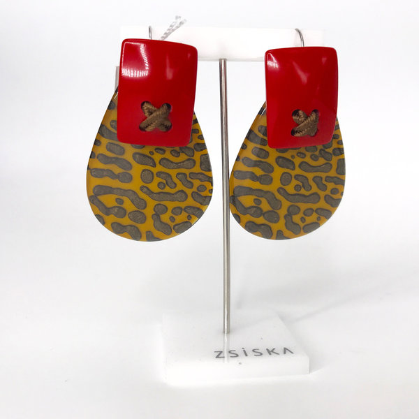 Boucles d'oreilles 01 Yellow/Red | Leopard