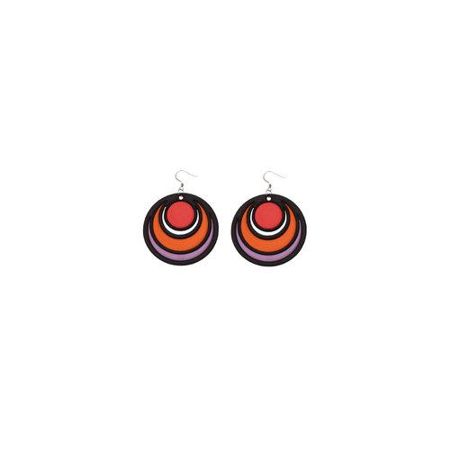 Batucada Boucles d'oreilles DANCING CIRCLES Rouge