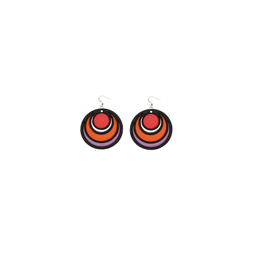 Batucada Earrings DANCING CIRCLES Rood
