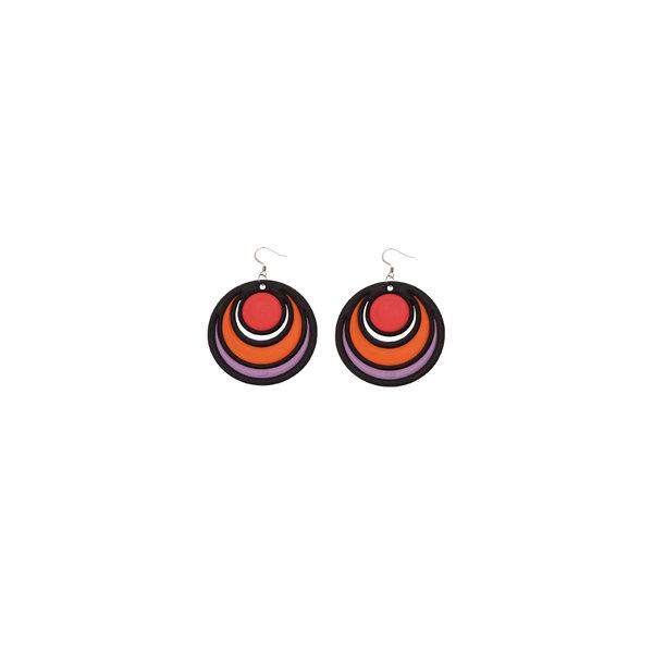 Earrings DANCING CIRCLES Rood