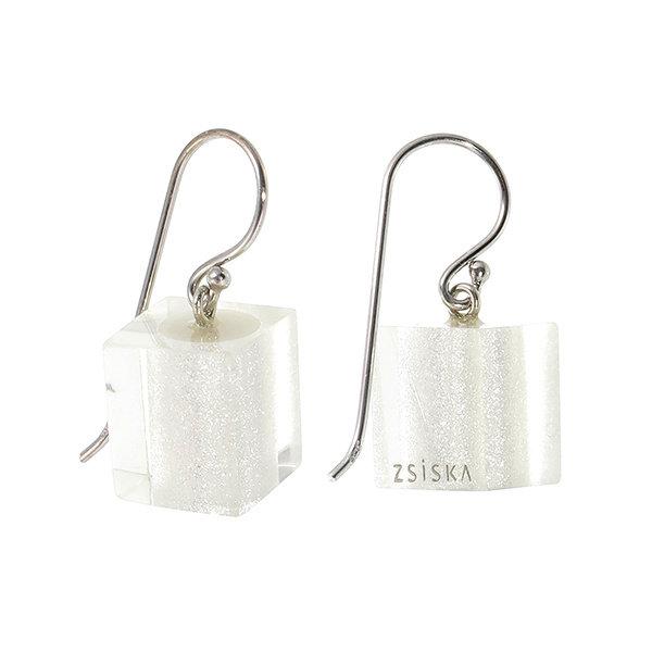 Boucles d'oreilles 1 perle silver | Colourful Cubes
