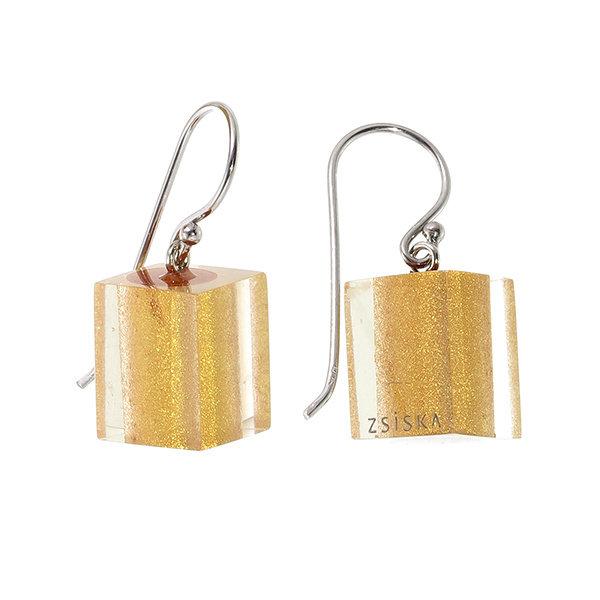 Boucles d'oreilles 1 perle gold | Colourful Cubes
