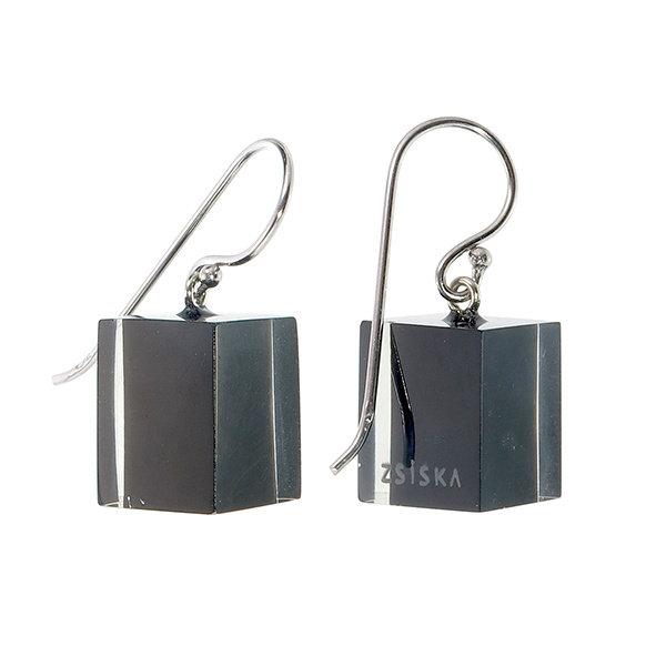 Boucles d'oreilles 1 perle black | Colourful Cubes