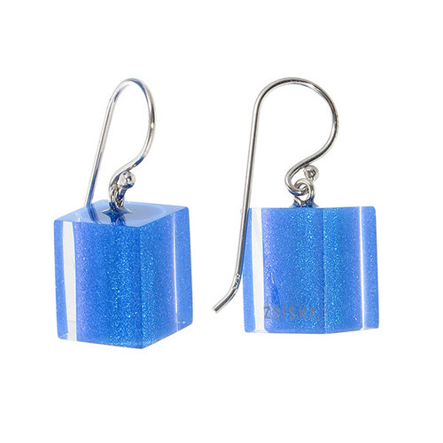 ZSISKA Boucles d'oreilles cobalt blue | Colourful Cubes