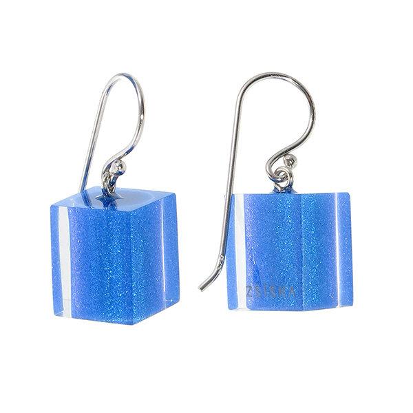 Oorbellen 1 bead cobalt blue | Colourful Cubes