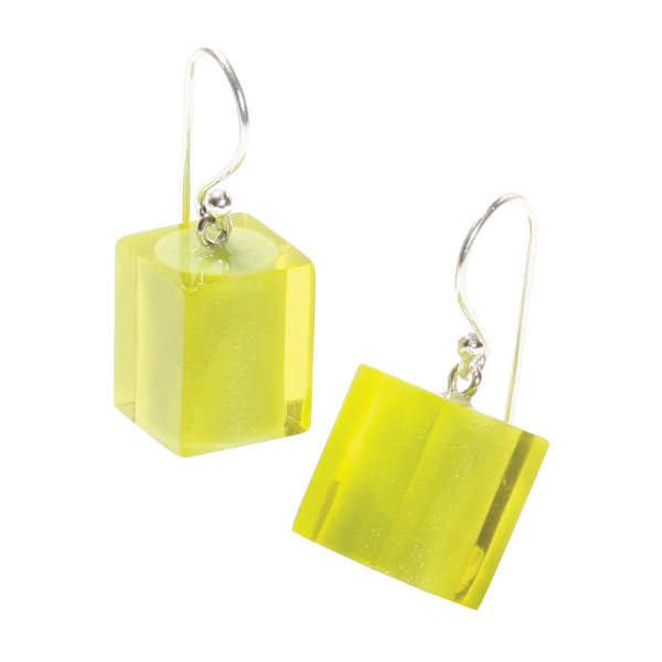 Oorbellen 1 bead lime | Colourful Cubes