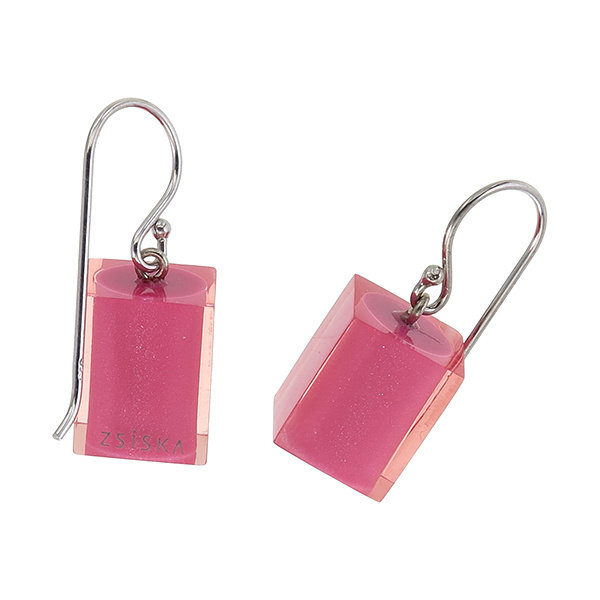 Oorbellen 1 bead pink | Colourful Cubes