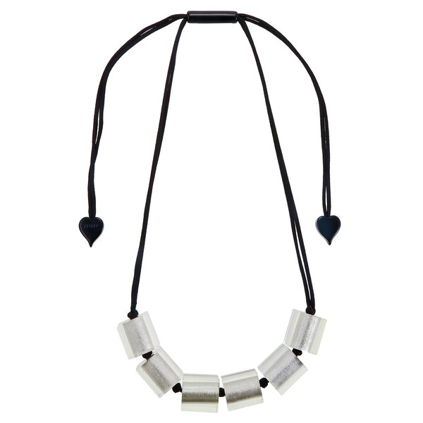 Collier 6 beads silver | Colourful Cubes