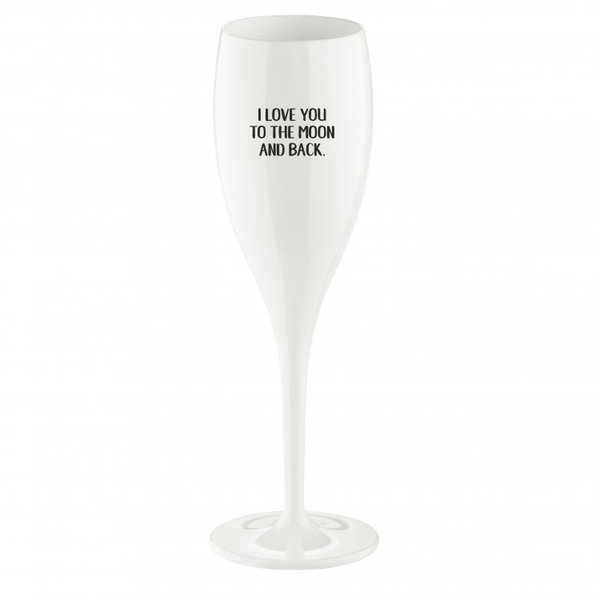 Champagneglas met opdruk: Love you to the moon... | 100 ml