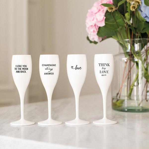 Champagneglas met opdruk: Think less Love more | 100 ml