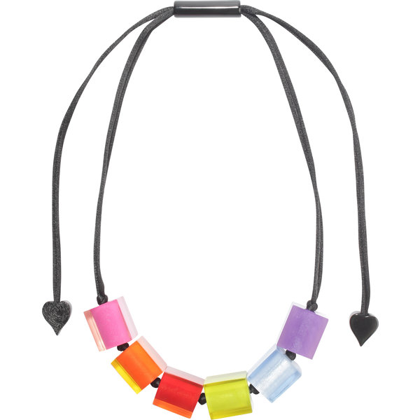 Halsketting 6 beads multicolor | Colourful Cubes