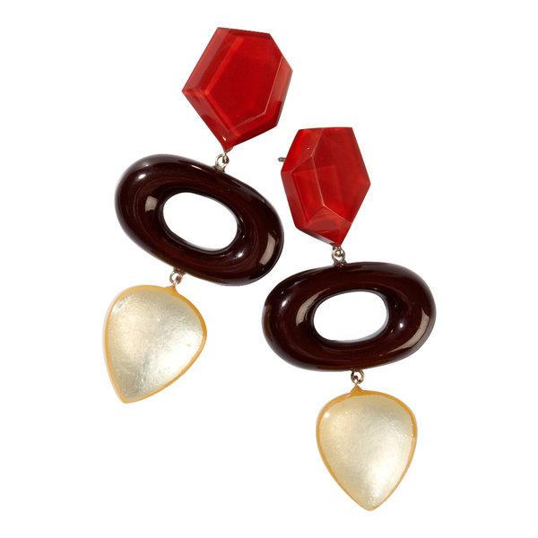 Oorbellen 3 beads red  | Chorus