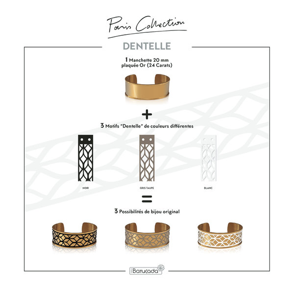 Armband LACE Goud met 3 verwisselbare kleuren