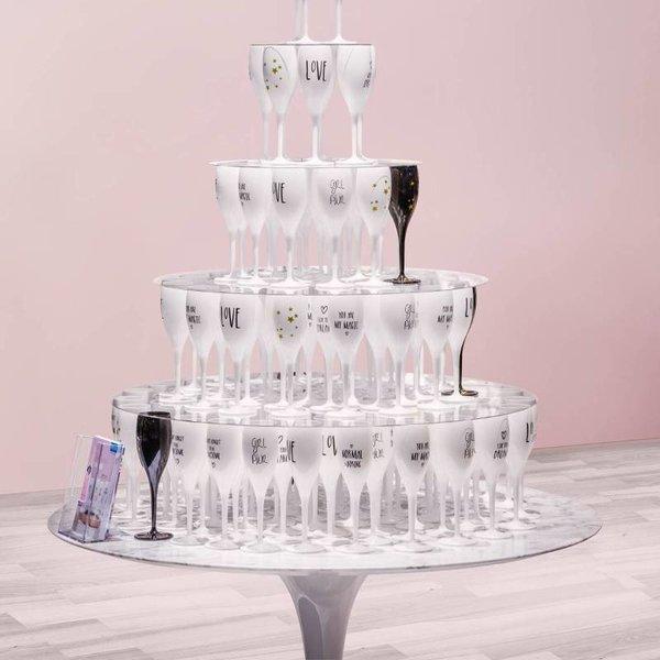 Champagneglas met opdruk: #staycation | 100 ml