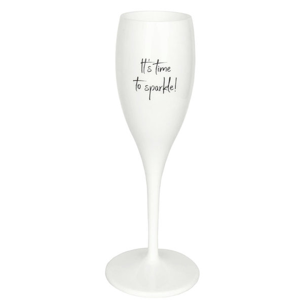 Champagneglas met opdruk: It's time to sparkle