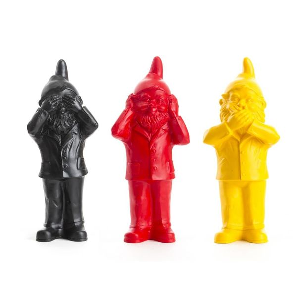 3 Nains Agent secret (entend pas, voit pas, parle pas) - Noir, Jaune et Rouge