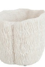 J-line Bloempot Koraal-polyresin wit M