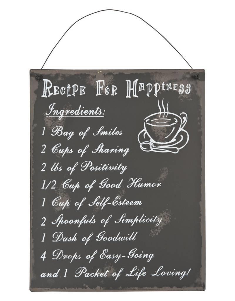 Clayre en Eef tekstbord, recipe happyness