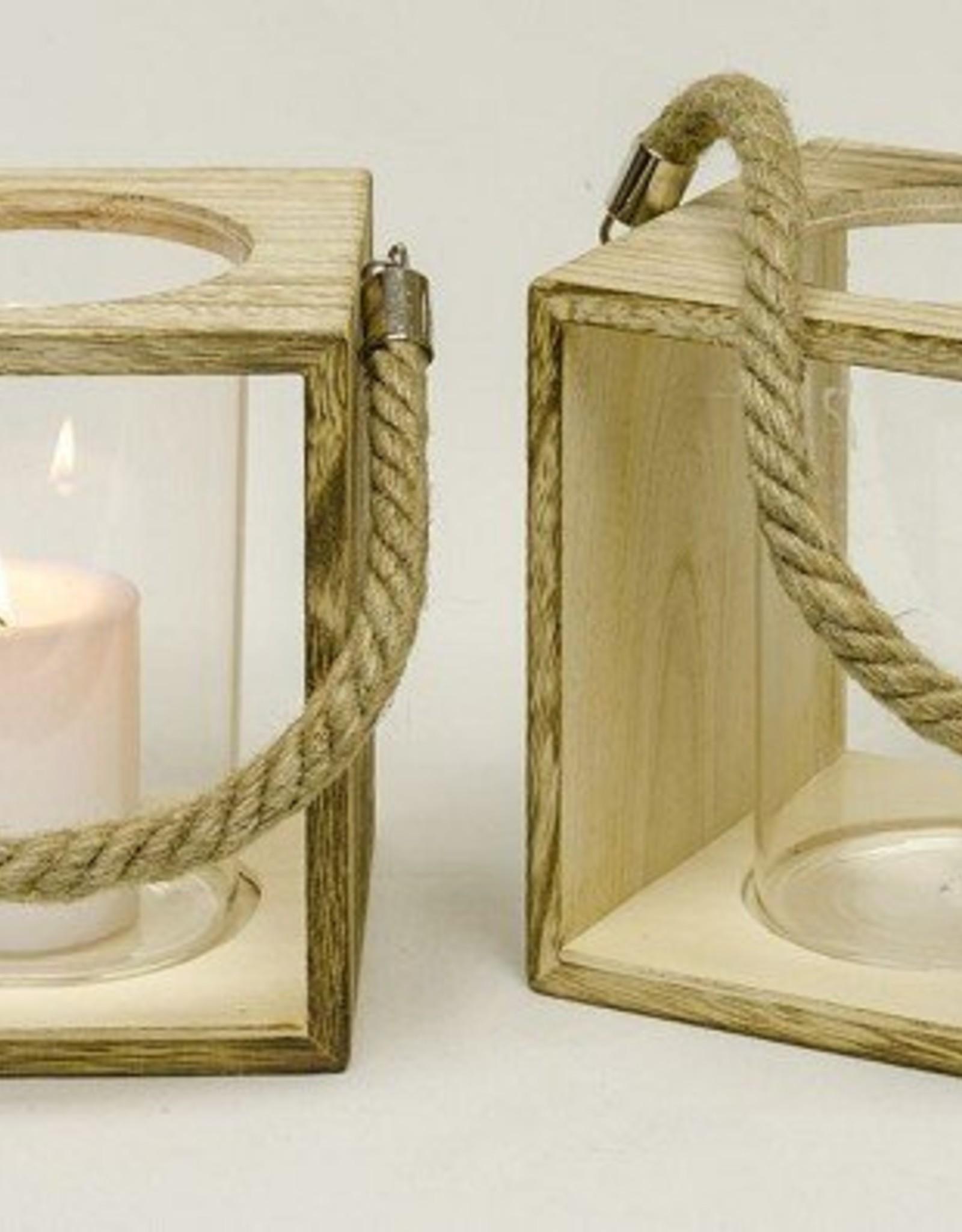 lantaarn glas in houten houder