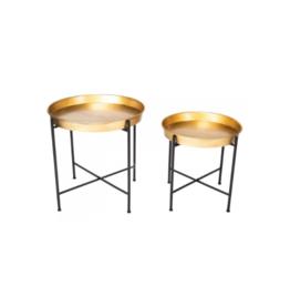 Home Society Set van 2 tafeltjes met goudkleurig blad