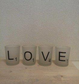 waxinelichtjes, scrabble-letters love