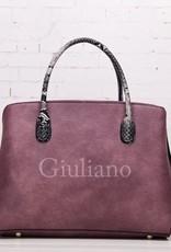 Guiliano handtas slangenprint handvat, roze